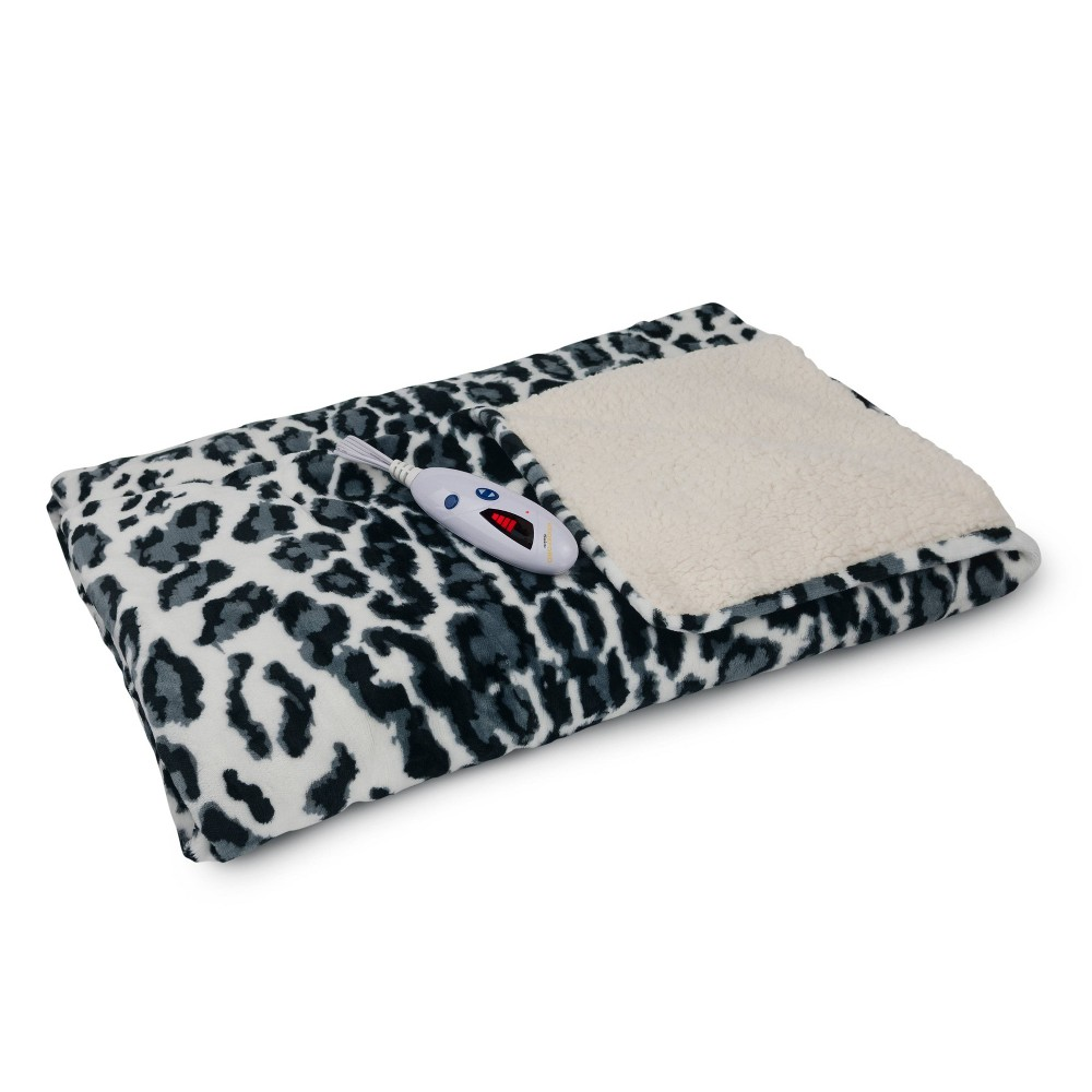 "Image of ""62"""" x 50"""" Velour & Sherpa Electric Throw Blanket Snow Leopard - Biddeford Blankets"""