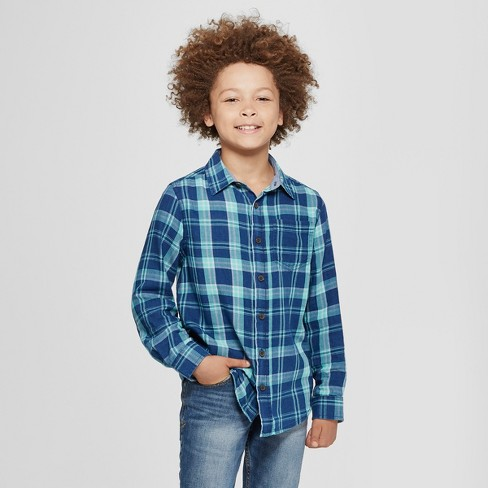 Boys' Long Sleeve Button-Down Shirt - Cat & Jack™ Dark Blue - image 1 of 3