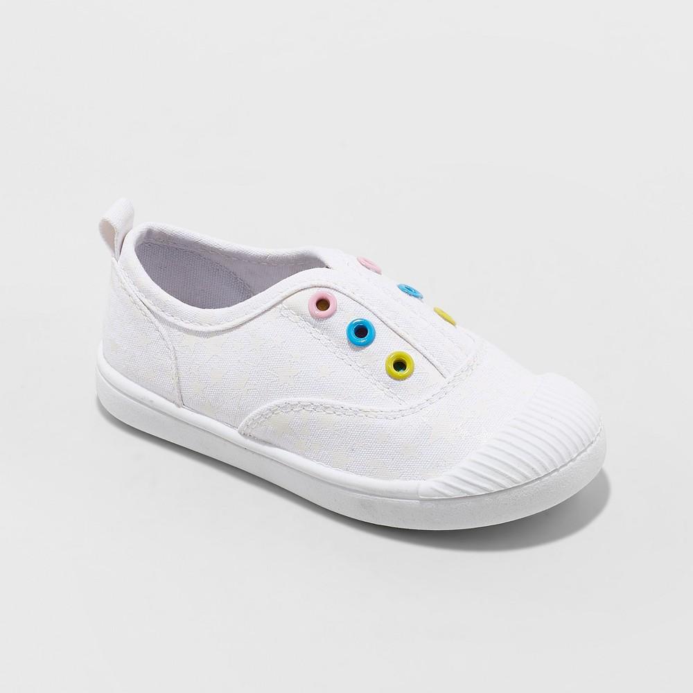 Toddler Girls' Alivia Canvas Slip On Sneakers - Cat & Jack White 8
