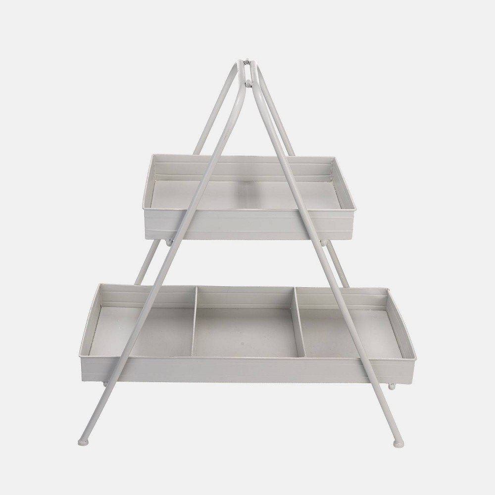 "Image of ""28"""" 2-Tier Metal Display Stand White - Foreside Home & Garden"""