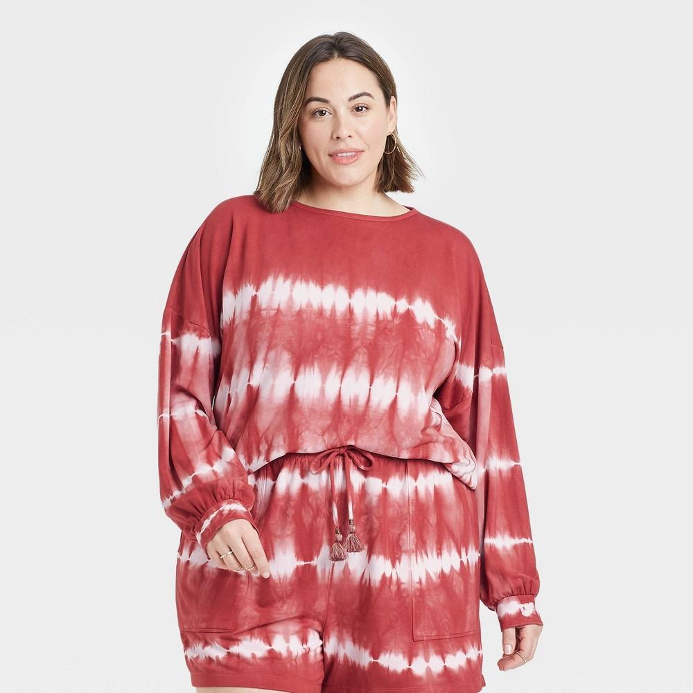 Women 39 S Plus Size Tie Dye Sweatshirt Knox Rose 8482 Red 1x
