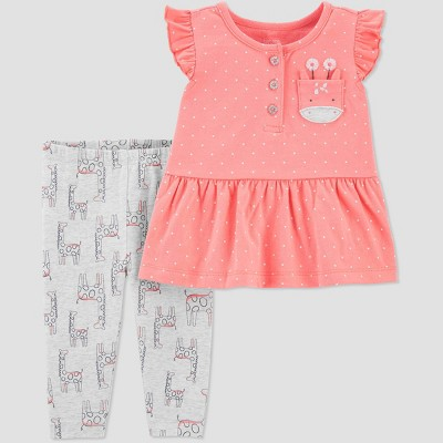Baby Girls' 2pc Giraffe Top & Bottom Set - Just One You® made by carter's Orange/Gray 12M