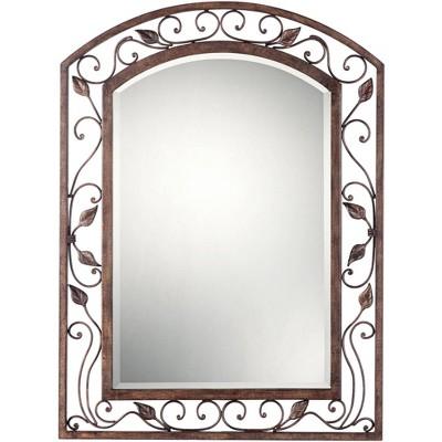 """Franklin Iron Works Eden Park Bronze 25"""" x 34"""" Arch Top Wall Mirror"""