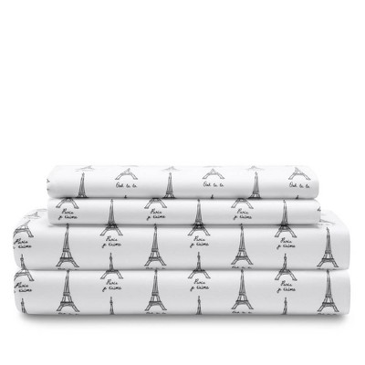 Queen Printed Microfiber Sheet Set Paris - Elite Home Products