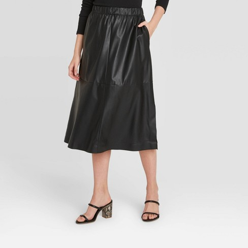 Women's A-Line Faux Leather Skirt - A New Day™ - image 1 of 3
