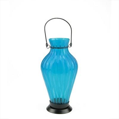 "Northlight 9.5"" Frosted Blue Ribbed Vase Glass Bottle Tea Light Candle Lantern Decoration"