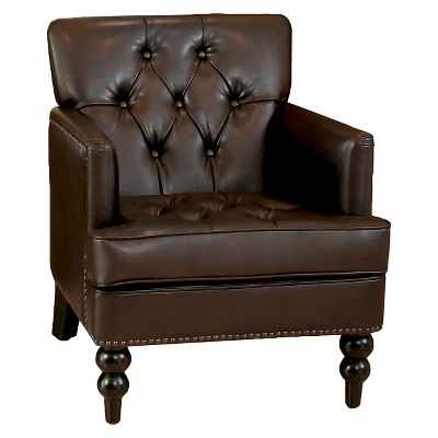 Malone Leather Club Chair - Brown - Christopher Knight Home