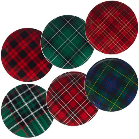 8 25 6pk Christmas Plaid Assorted Dessert Plates Certified