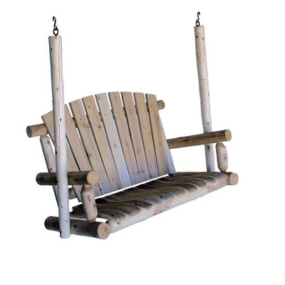 Lakeland Mills 4 Ft 3 Person Rustic White Cedar Wood Log Outdoor Porch Swing Furniture, Natural