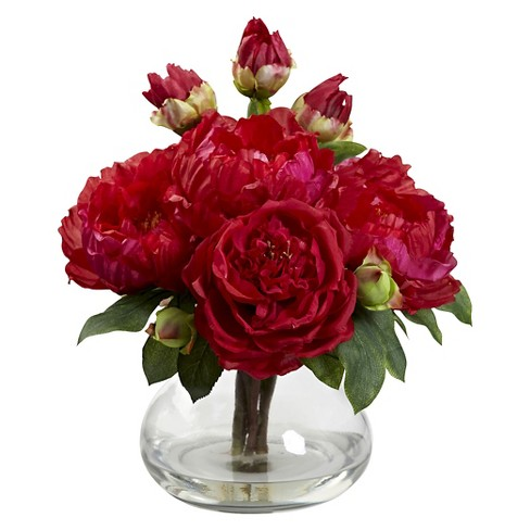 Nearly Natural Peony & Rose with Vase - image 1 of 1