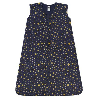 Hudson Baby Infant Cotton Sleeveless Wearable Sleeping Bag, Sack, Blanket, Gold Navy Star