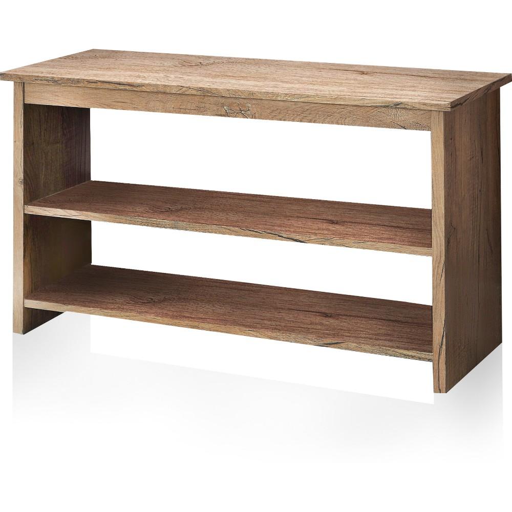 Image of miBasics Lizzie Contemporary 2 Shelf Side Table Weathered Elm, Warm Oak