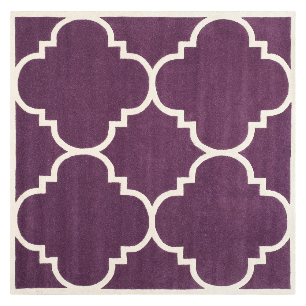 7'X7' Quatrefoil Design Tufted Square Area Rug Purple/Ivory - Safavieh