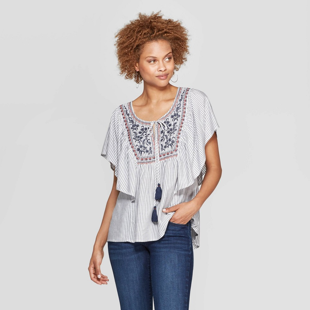 Women's 70s Shirts, Blouses, Hippie Tops Womens Striped Short Flutter Sleeve Scoop Neck Top With Embroidery - Knox Rose Navy S Blue $19.58 AT vintagedancer.com