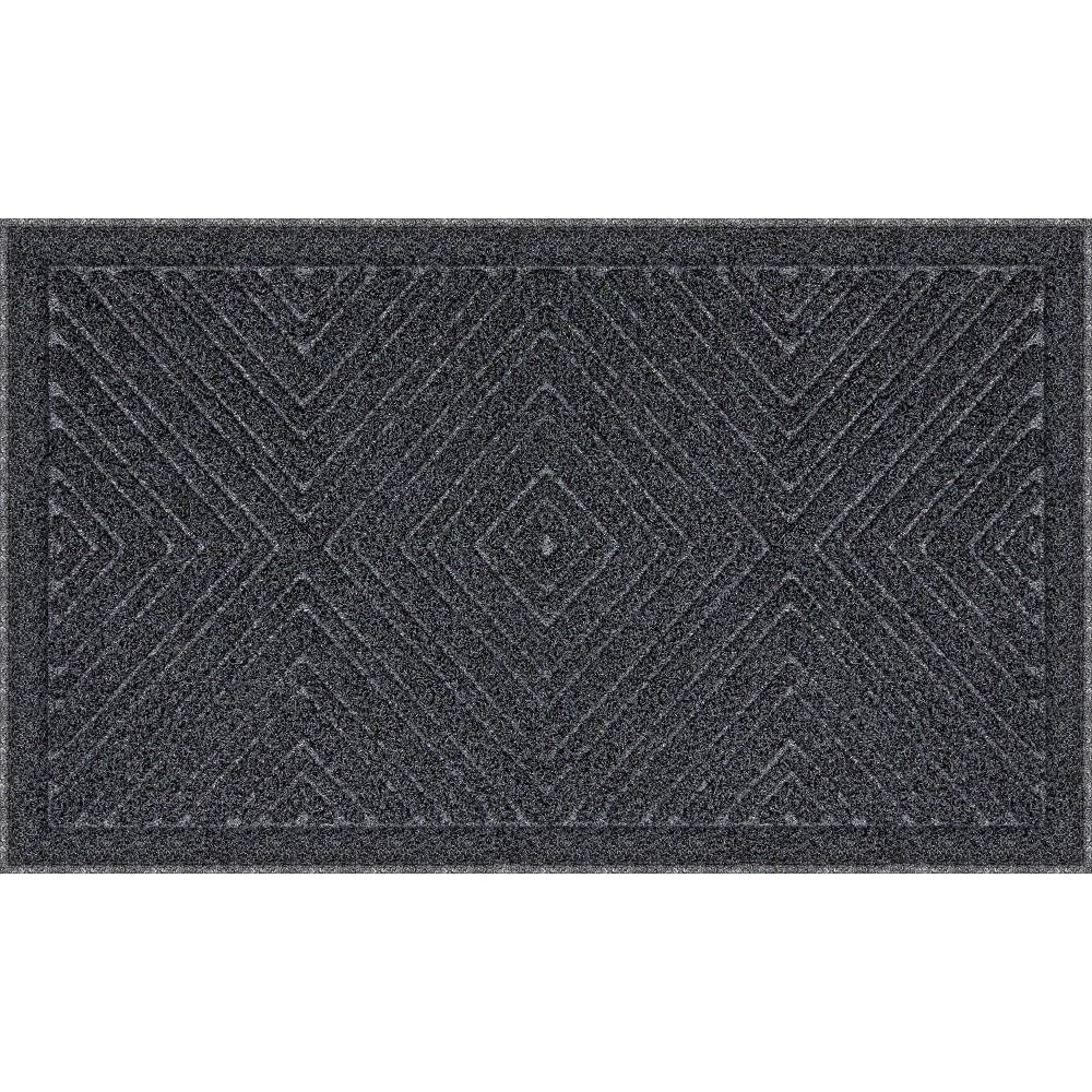 "Image of ""1'6""""x3' Mega Scrapper Diamond Gem Doormat Charcoal Gray - Apache Mills"""