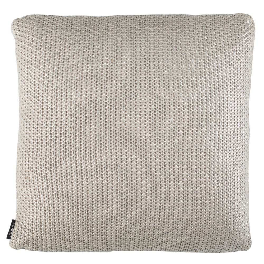 Tickled Knit Palewisper Square Throw Pillow Gray - Safavieh