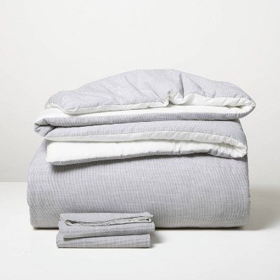 3pc King Microstripe Comforter & Sham Set Railroad Gray - Hearth & Hand™ with Magnolia