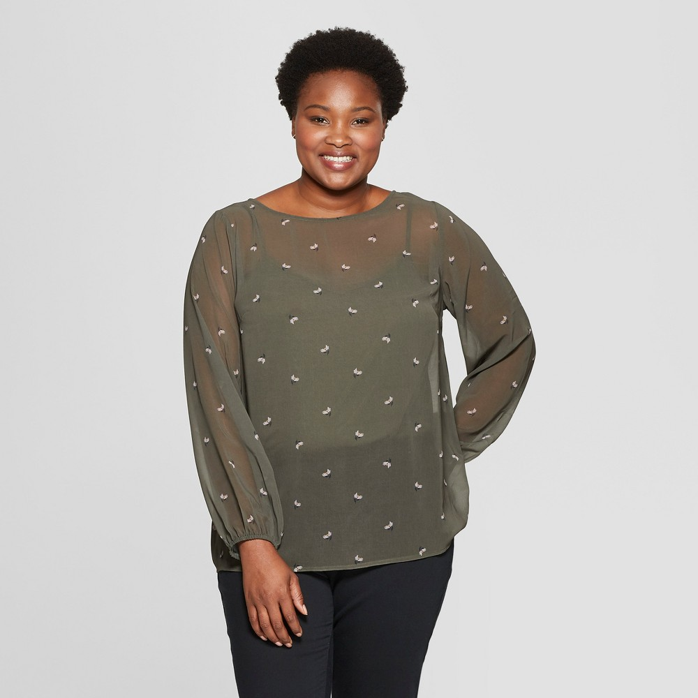 Women's Plus Size Floral Print Long Sleeve Chiffon Blouse with Cami - Ava & Viv Olive 3X, Green