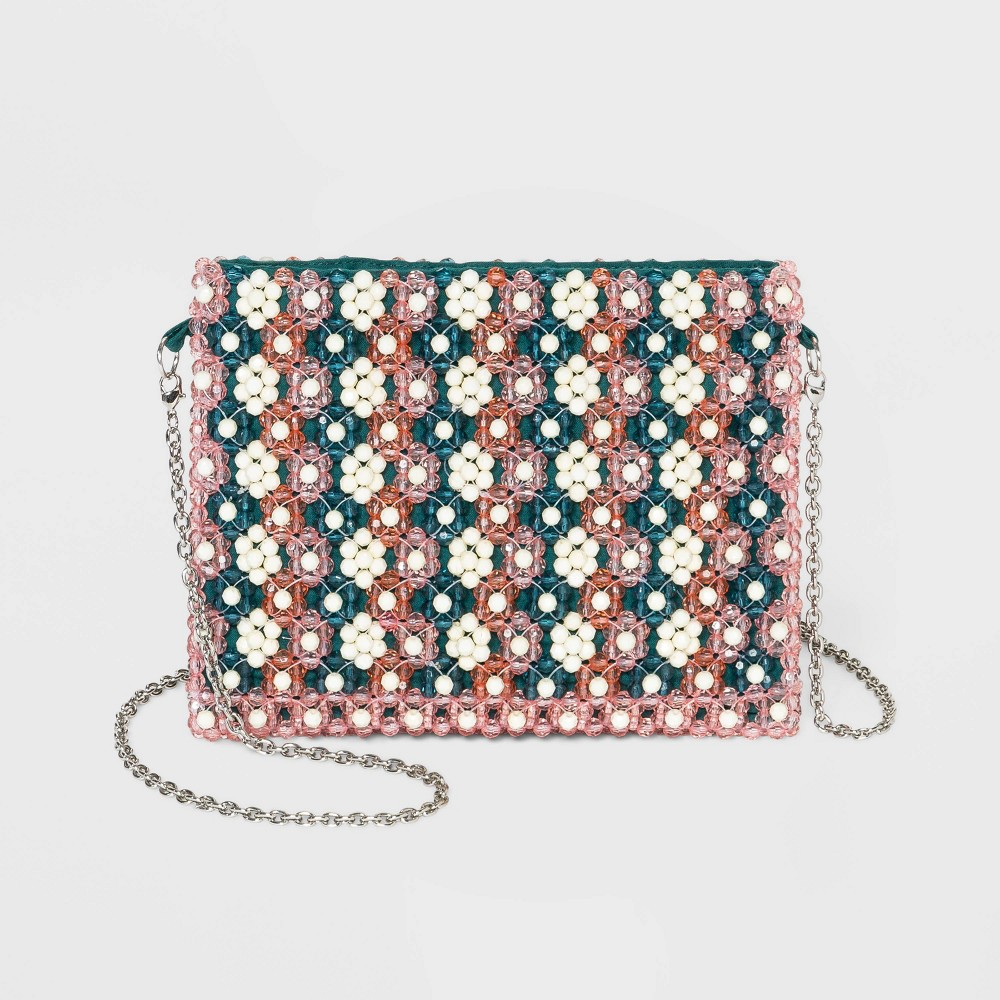Image of Estee & Lilly Crossbody Floral Beaded Clutch, MultiColored