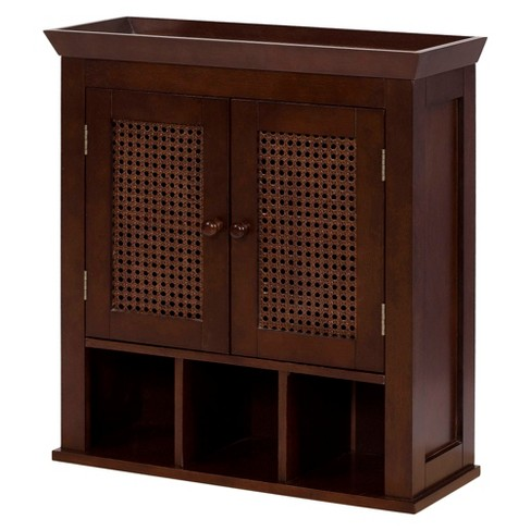 Cane 2 Door Wall Cabinet Brown Elegant Home Fashions