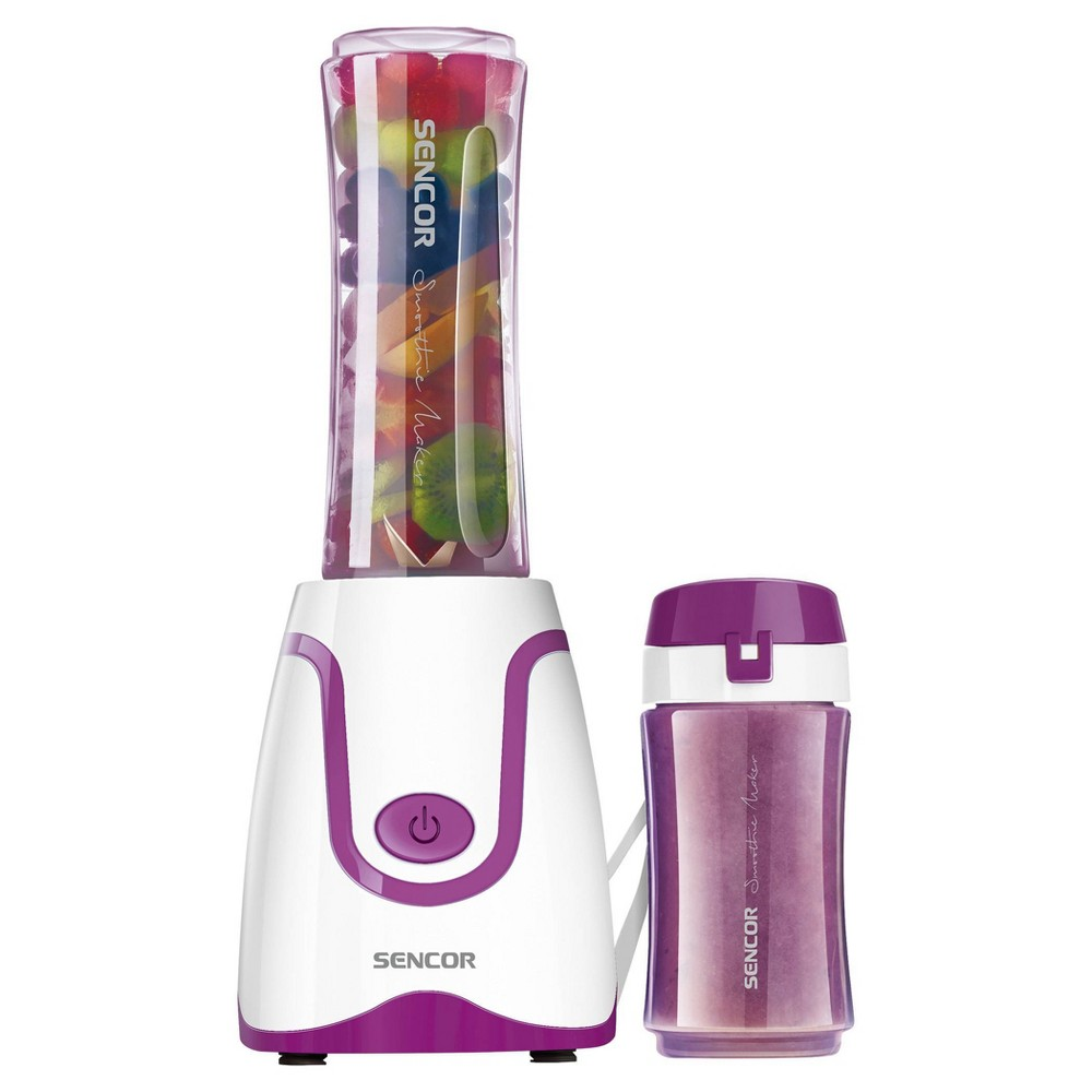 Sencor Smoothie Blender is ideal for preparing fresh fruit and fitness drinks, milkshakes, mixed beverages, soups, salsas, and baby formulas. The blending bottle can be removed and used as a travel bottle. Bottle, lid, and blades are dishwasher safe. Includes Two bottles: 2.5 cups/.6L and 1.3 cups/.3L which fit car cup holders and are made from impact-resistant BPA free Tritan. Color: Violet.