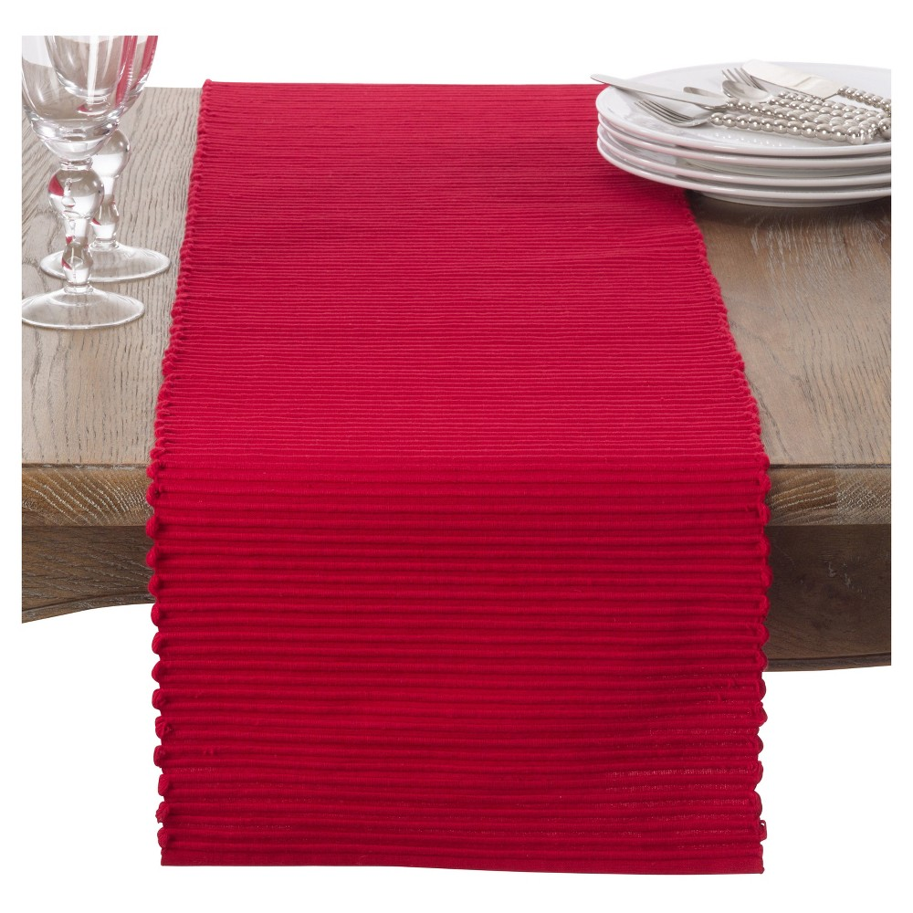 Red Classic Ribbed Table Runner (13