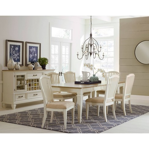 Side Chairs White Hilale Furniture, Round Extendable Dining Table Set With 6 Chairs