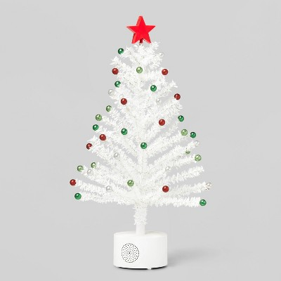 21in Rotating Tinsel Christmas Tree Decorative Figurine White - Wondershop™