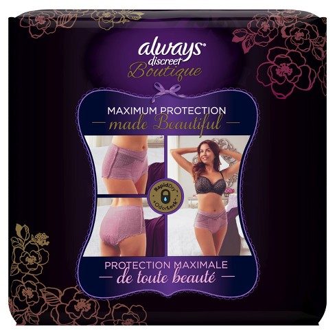 Always Discreet Boutique Incontinence Underwear For Women Maximum Absorbency Mauve Small Medium 12ct