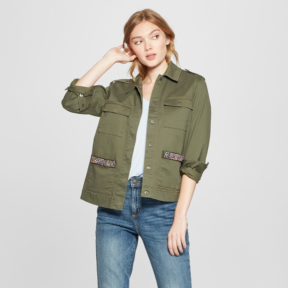 Women's Military Jacket with Pocket Beading - A New Day Olive S, Green