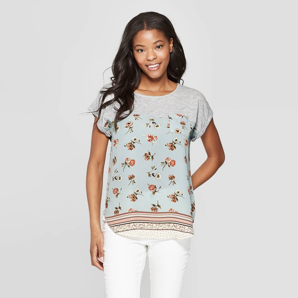 55ac0b9afe Womens Floral Print Short Sleeve Crewneck T Shirt Xhilaration Aqua XL Blue