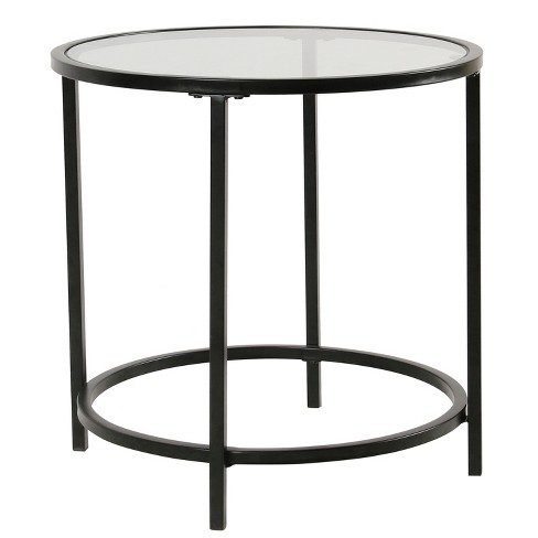 Round Metal Accent Table With Glass Top, Round Metal End Tables