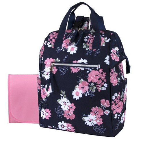 Baby Essentials Floral Backpack - Navy - image 1 of 4