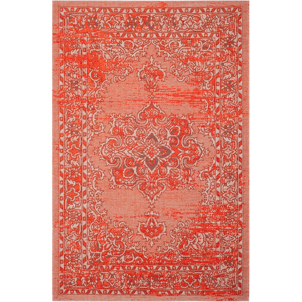 5'X8' Medallion Loomed Area Rug Orange/Light Gray - Safavieh