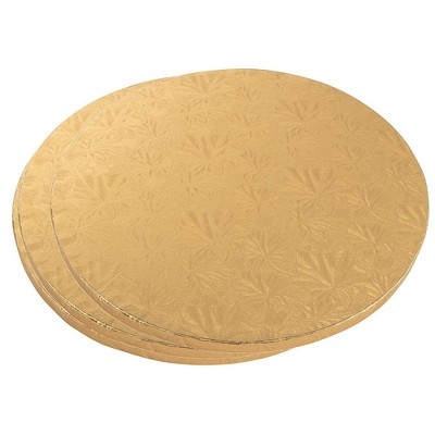 """Juvale 3 Piece Cake Boards Rounds, Gold Foil Pizza Base Disposable Drum Circles, Corrugated Paper Board 12"""""""