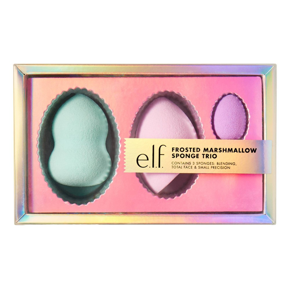 E L F Holiday Frosted Marshmallow Trio Sponge Gift Set 3pc
