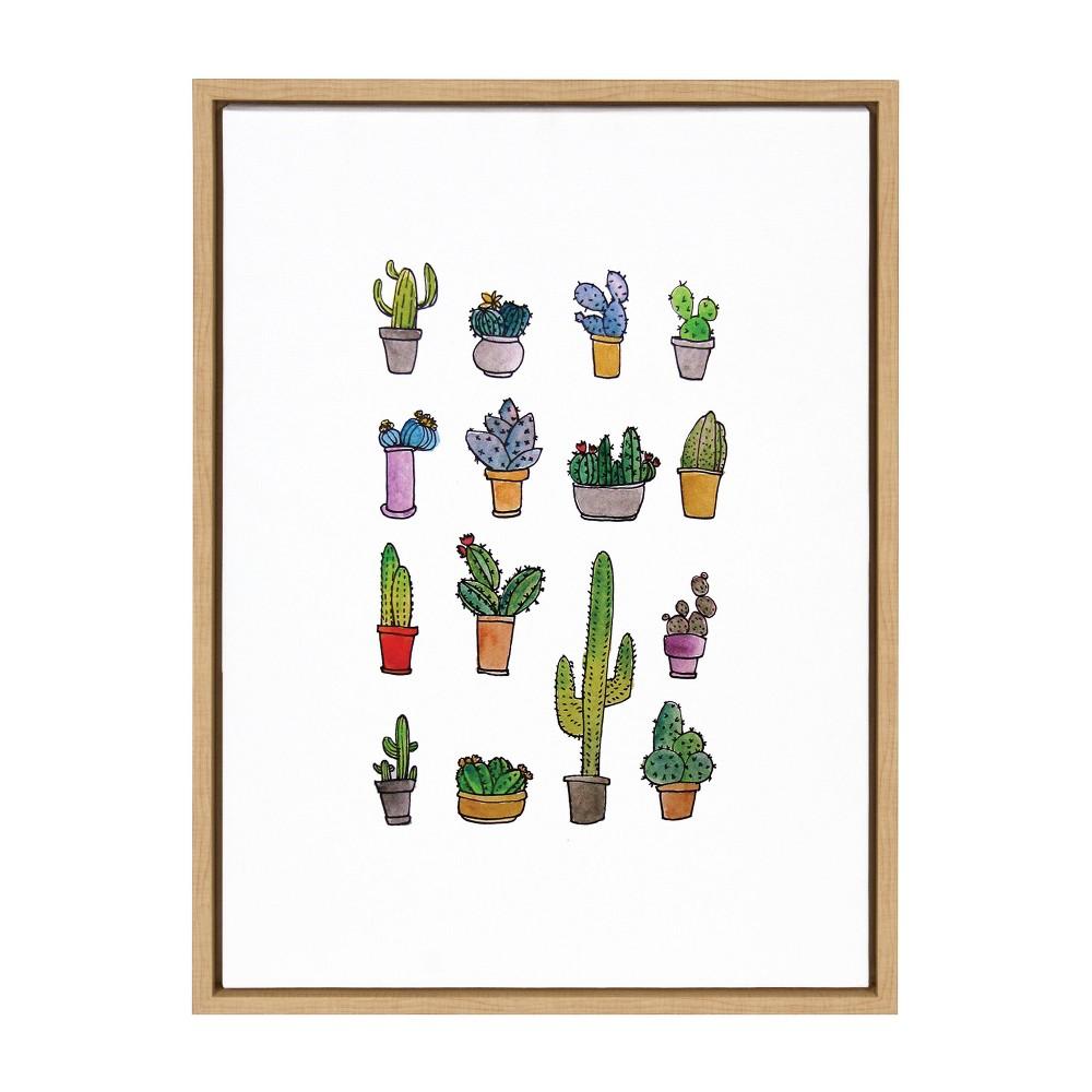 "Reviews 18"" x 24"" Sylvie Group of Cacti Framed Canvas Wall Art by Viola Kreczmer Natural - Kate and Laurel"