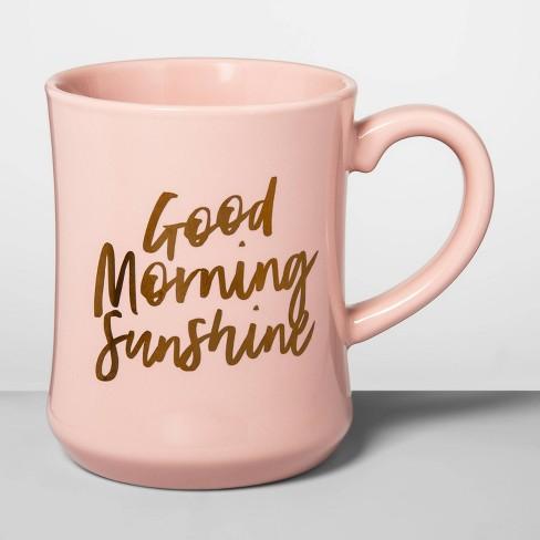 15oz Stoneware Good Morning Diner Mug Light Pink - Opalhouse™ - image 1 of 1
