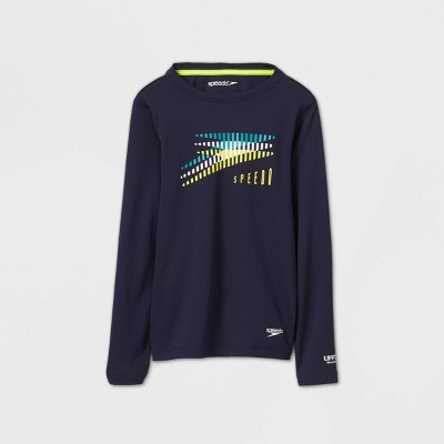 Speedo Boys' Long Sleeve Slice Rash Guard Swim Shirt - Navy