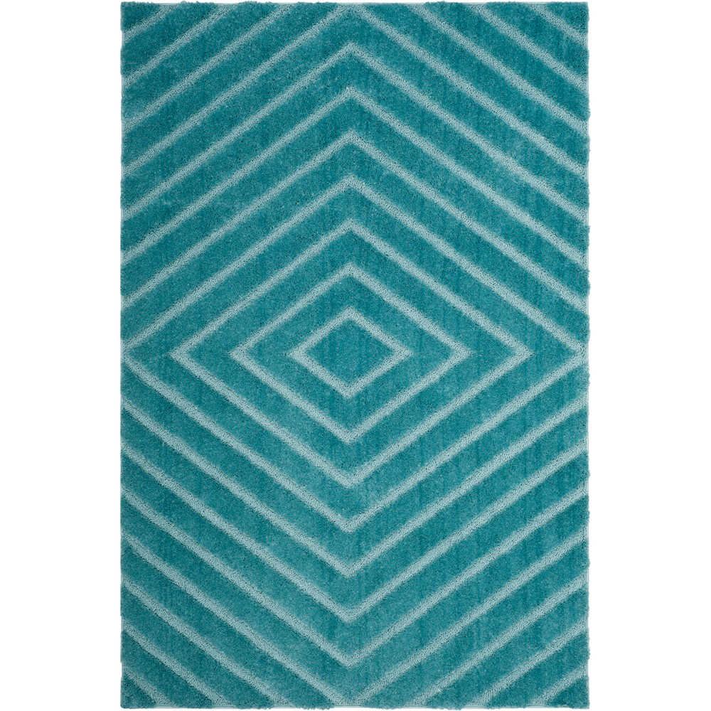 4'X6' Geometric Loomed Area Rug Blue/Light Gray - Safavieh