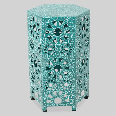 Eliana 12  Sunburst Outdoor Patio Iron Side Table - Crackle Teal - Christopher Knight Home