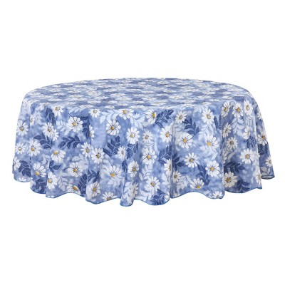 """60"""" Dia Round Vinyl Water Oil Resistant Printed Tablecloths Blue Daisy - PiccoCasa"""