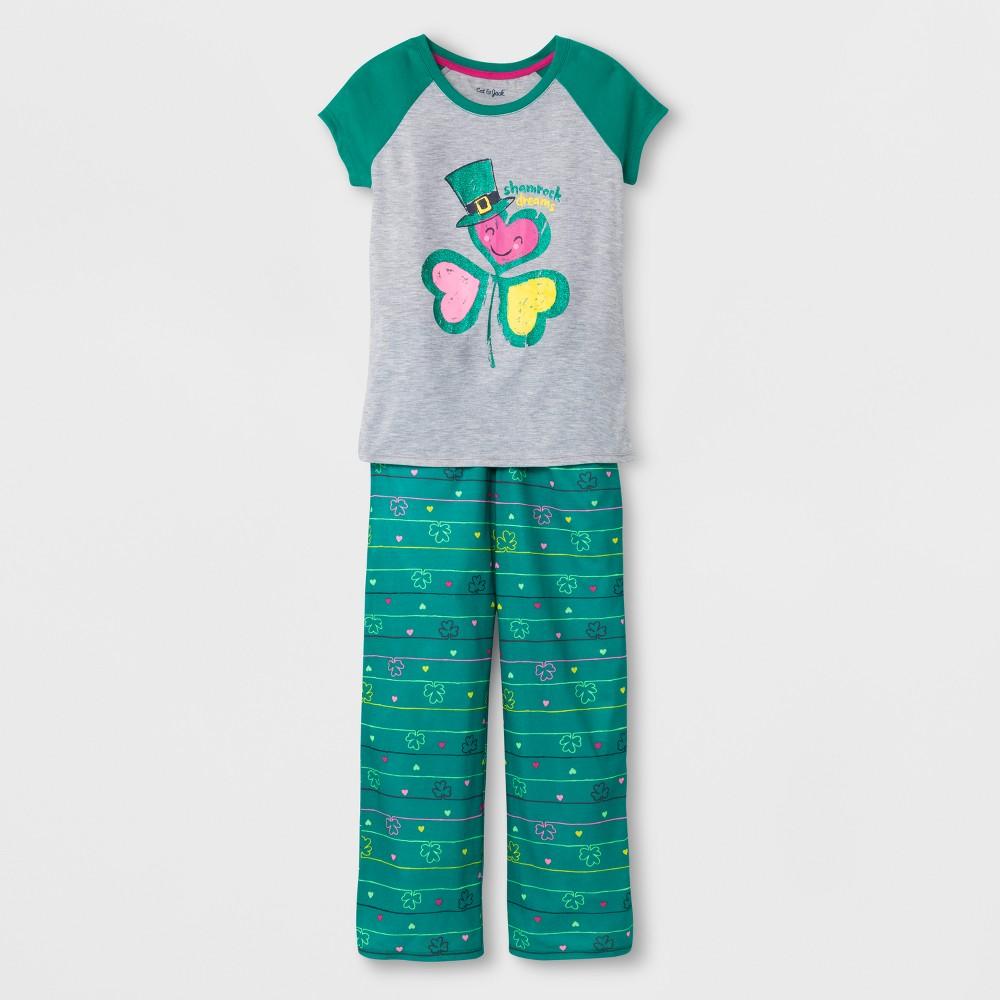 Girls' 2pc Clover St Patrick's Day Pajama Set - Cat & Jack Heather Gray XL