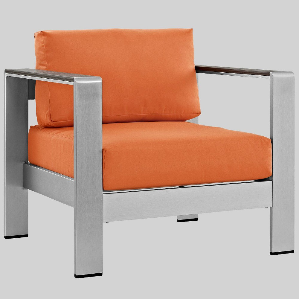 Shore 1pc Outdoor Patio Aluminum Armchair - Orange - Modway