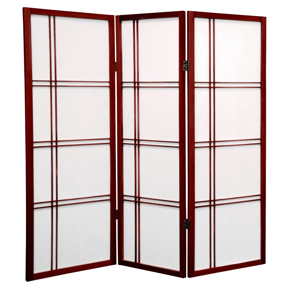 Image of 4 ft. Tall Double Cross Shoji Screen - Rosewood (3 Panels) - Oriental Furniture, Burgandian Red