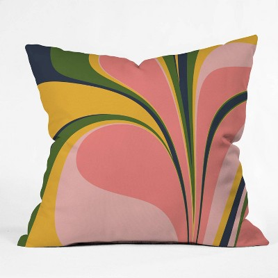 """16""""x16"""" June Journal Color Swirl Throw Pillow Pink - society6"""