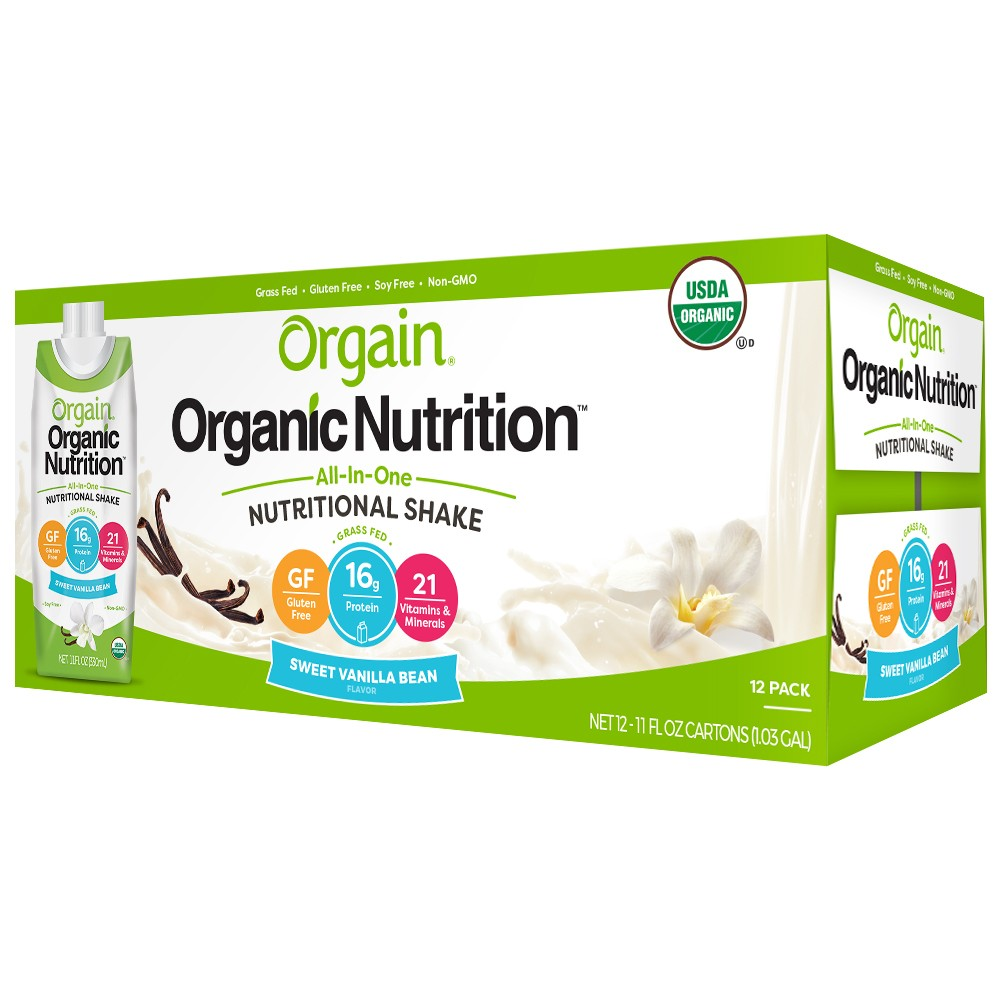Orgain Organic Nutritional Shake - Sweet Vanilla Bean - 12ct