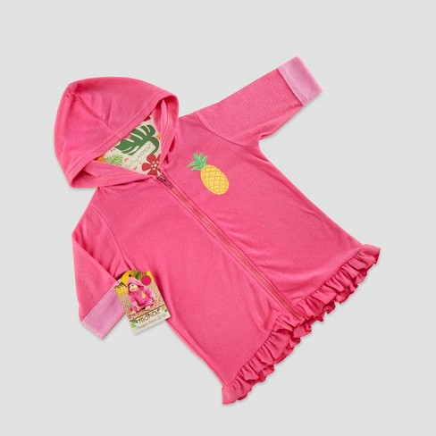 Baby Aspen Girls' Tropical Pineapple Hooded Beach Zip-Up - Pink 0-9M - image 1 of 2