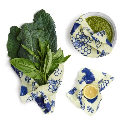 Bee's Wrap 3pk Reusable Beeswax Food Wraps Sustainable Plastic Free - 1 Small 1 Medium 1 Large Blue