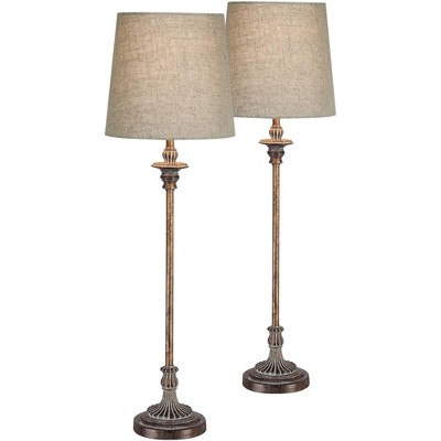 Regency Hill Traditional Buffet Table Lamps Set of 2 Weathered Brown Ridged Linen Fabric Drum Shade for Dining Room